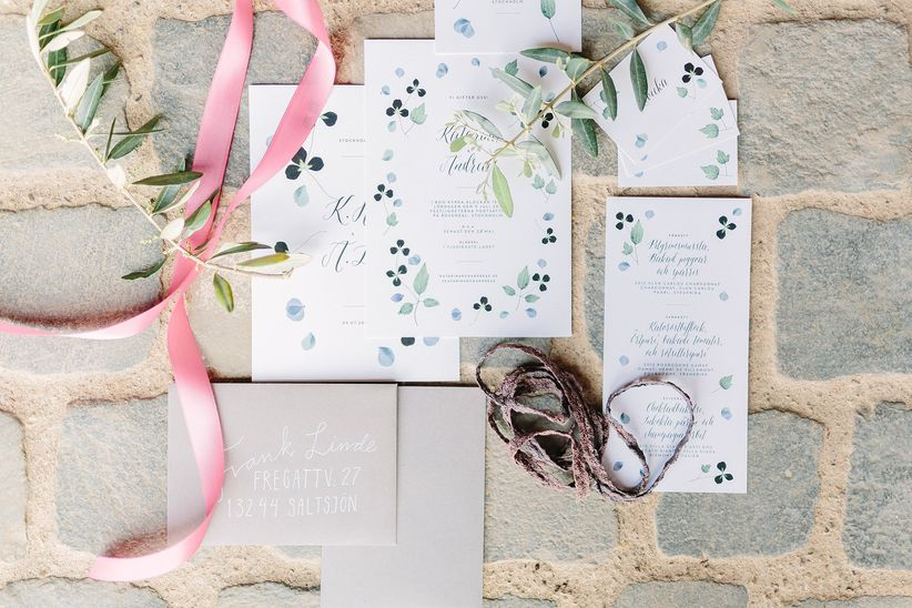 pastel blue and green invitation suite