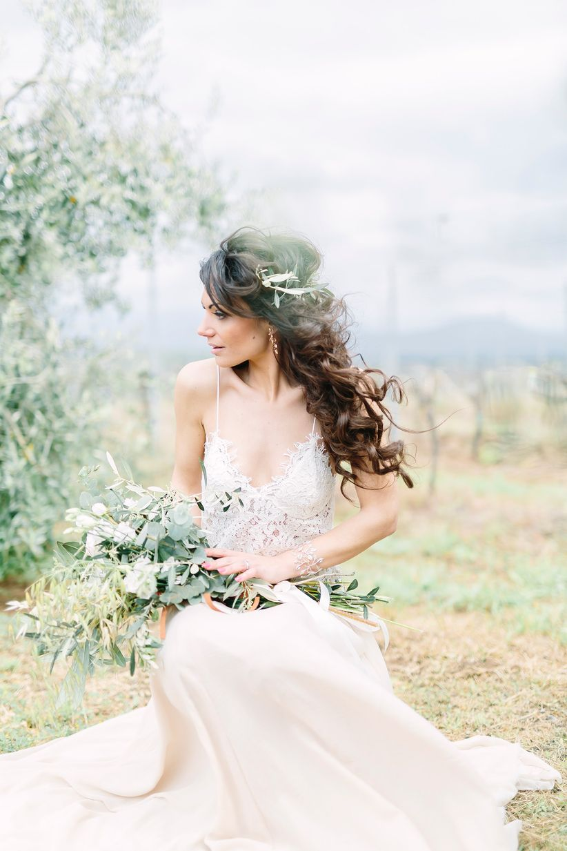 boho bride wearing lace dress