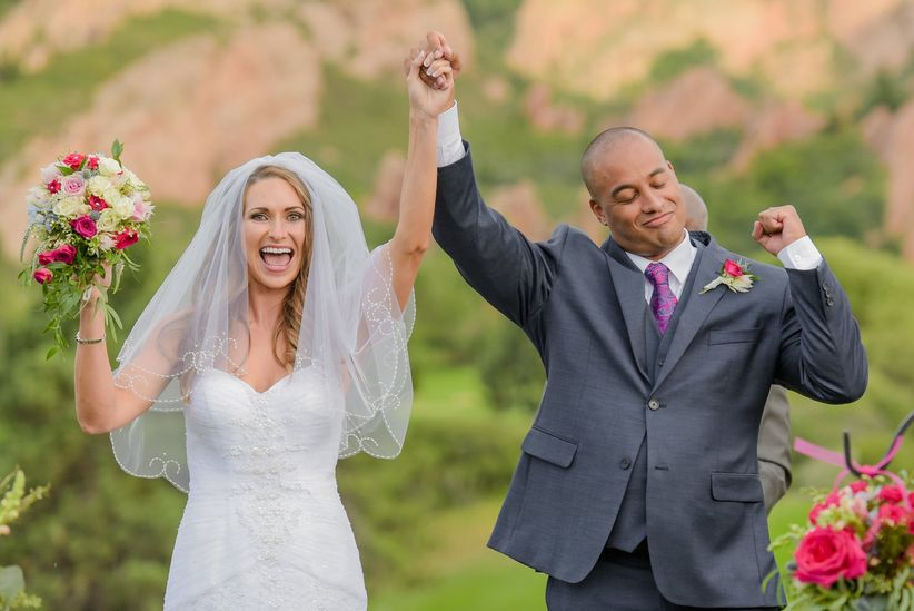 couple cheering during recessional