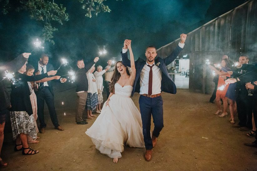 couple sparkler sendoff