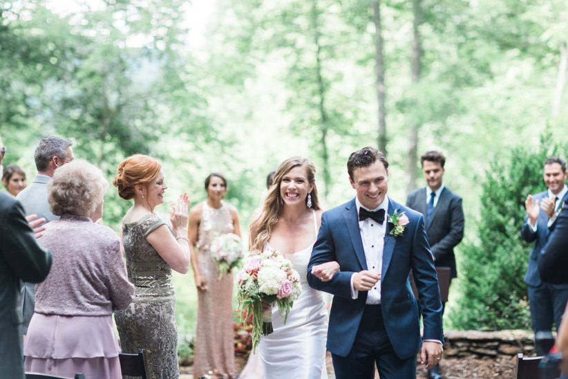 wedding recessional happy smiling couple