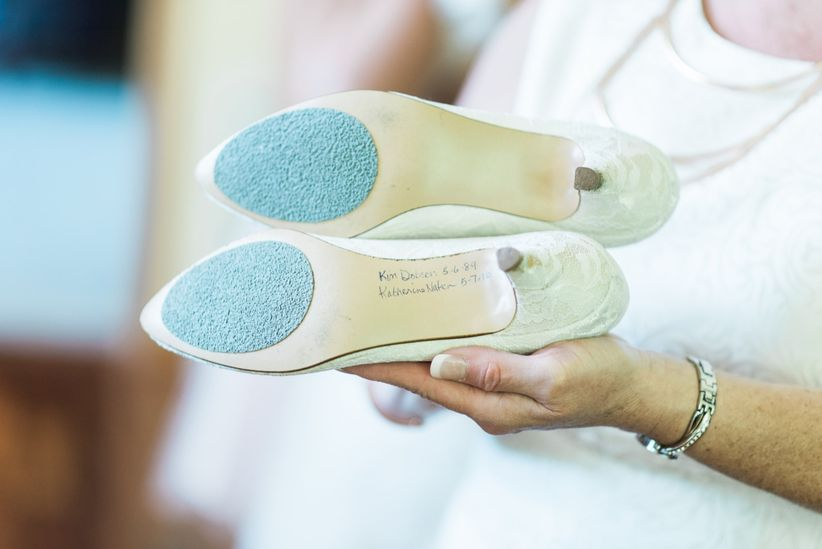 signatures on soles of wedding shoes