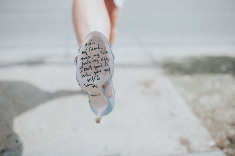 love note on soles of shoes