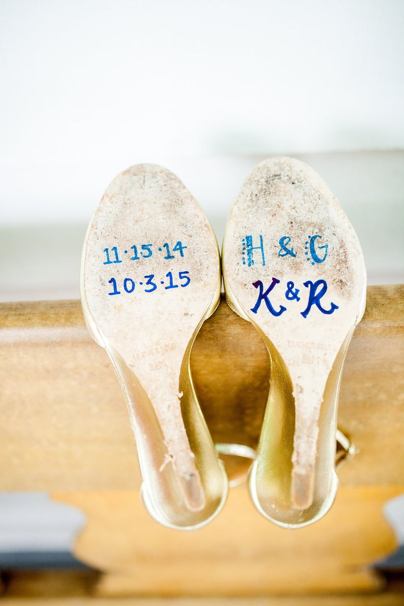 writing on soles of bridal shoes