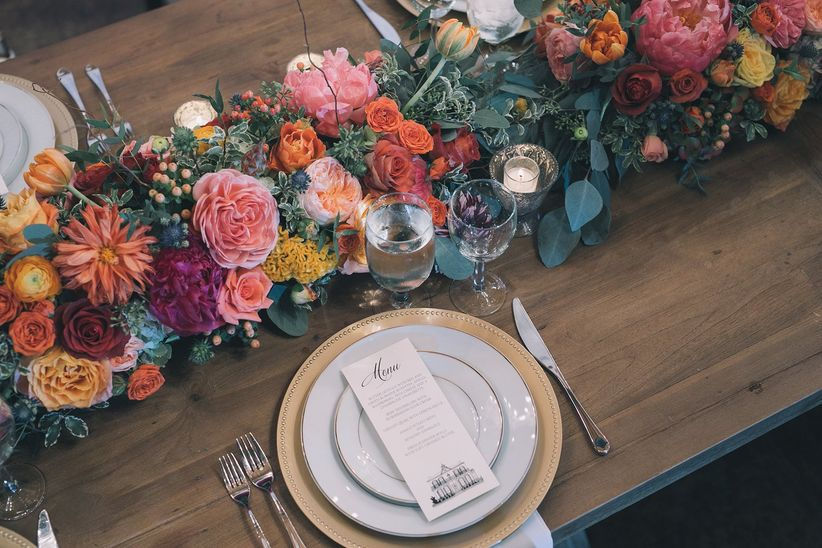 wedding tablescape with floral runner