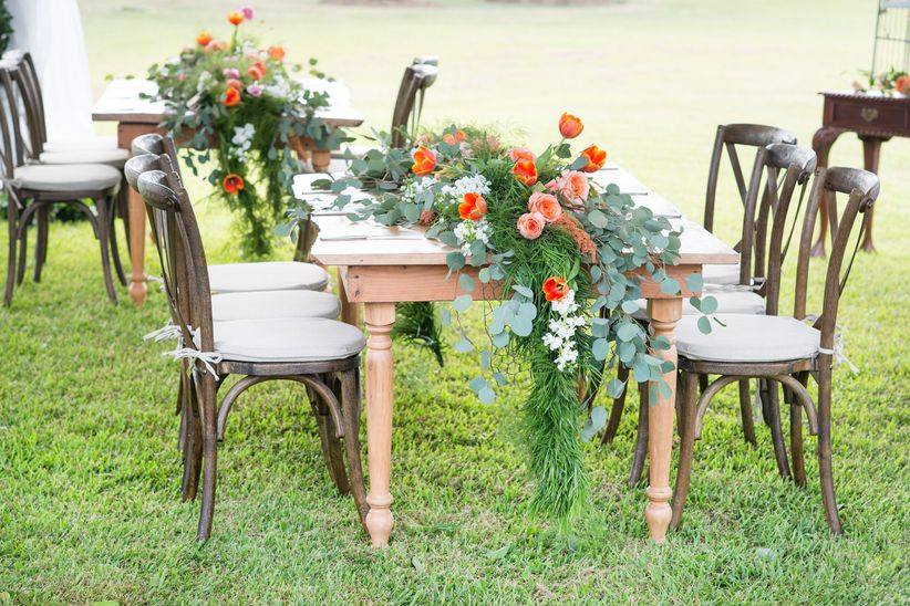 wedding orange and greenery tablescape