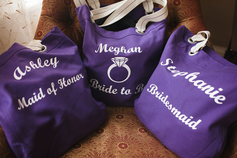 purple bridesmaid totes