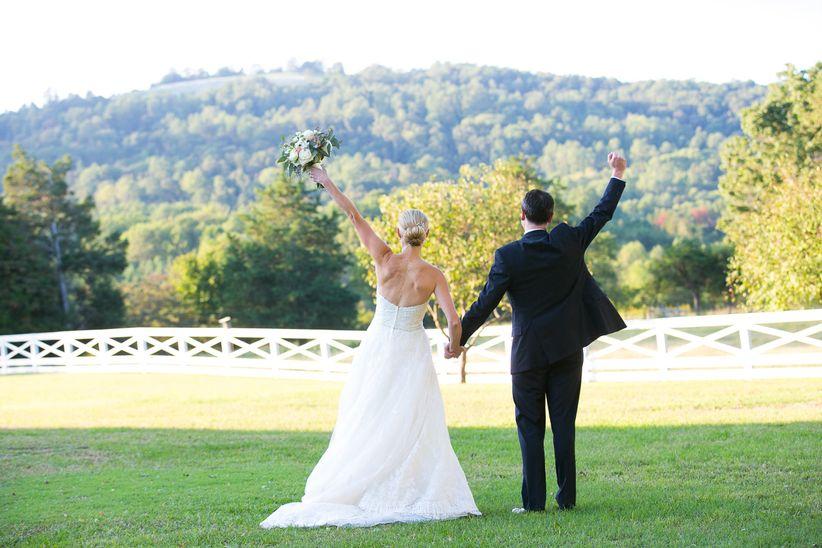 wedding couple cheering