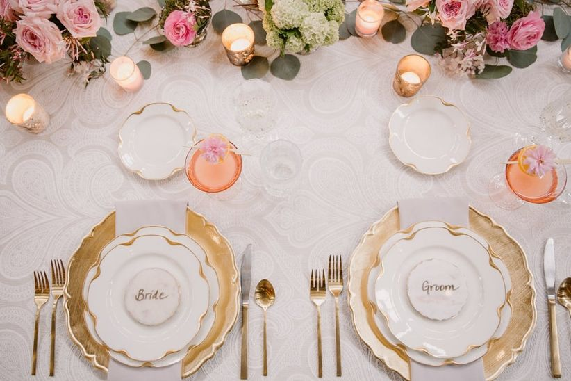 gold and pink wedding place settings
