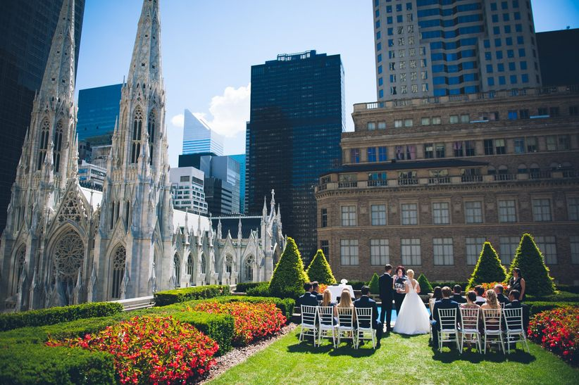 wedding venue with a skyline view