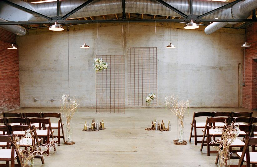 industrial wedding ceremony backdrop
