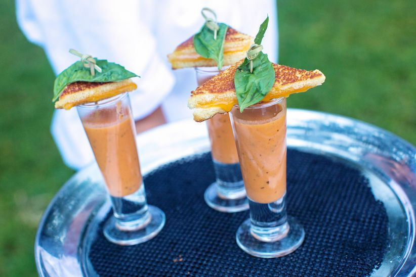 grilled cheese appetizer with tomato soup