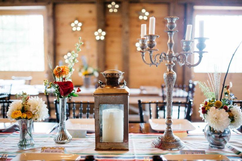 candelabra and vintage lantern centerpieces