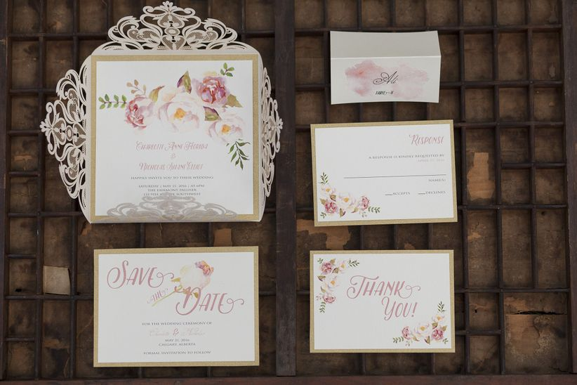 pastel pink white and gold invitation suite