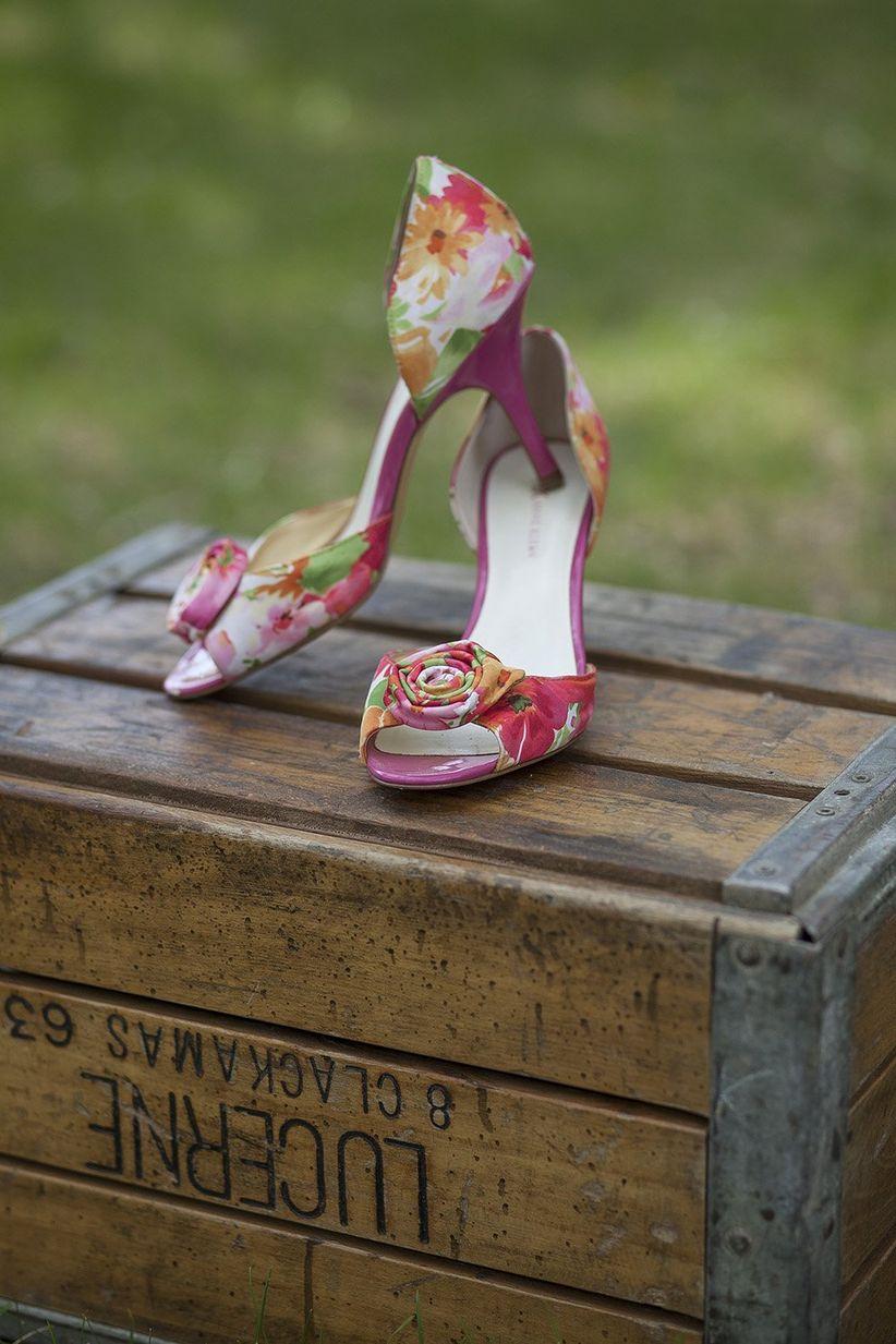 floral peep toe kitten heels on rustic wooden crate