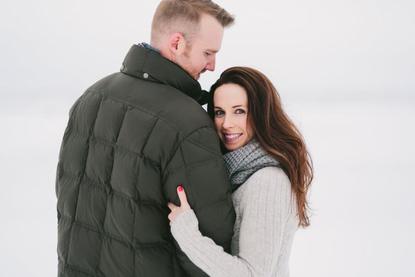 winter engagement photo