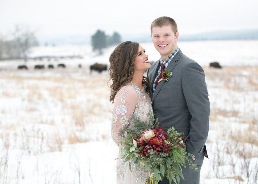 couple at winter wedding outdoor photo