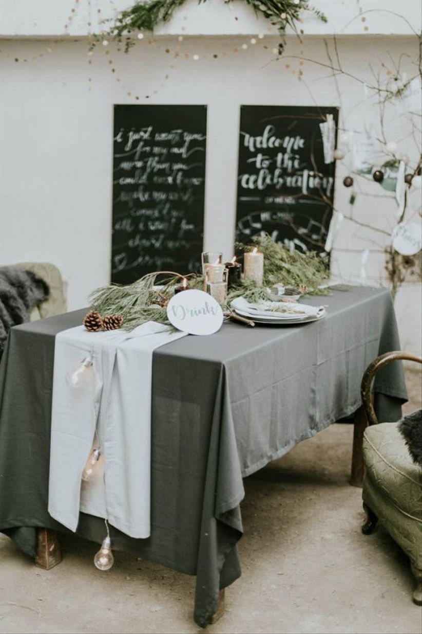 gray and silver winter wedding tablescape