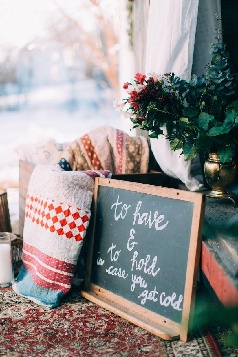 wedding blanket station