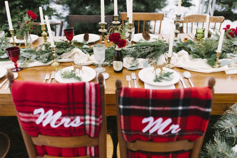10 winter wonderland wedding ideas for a snowy celebration weddingwire plaid mr and mrs blankets over wedding chairs junglespirit Images