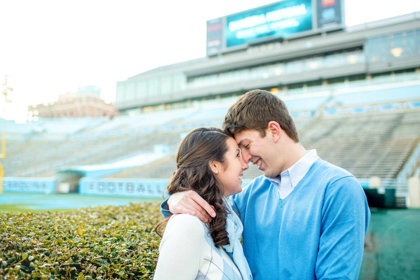 sunset engagement shoot at UNC Chapel Hill