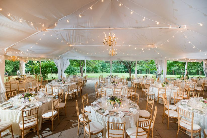 round banquet tables gold chiavari chairs white linens