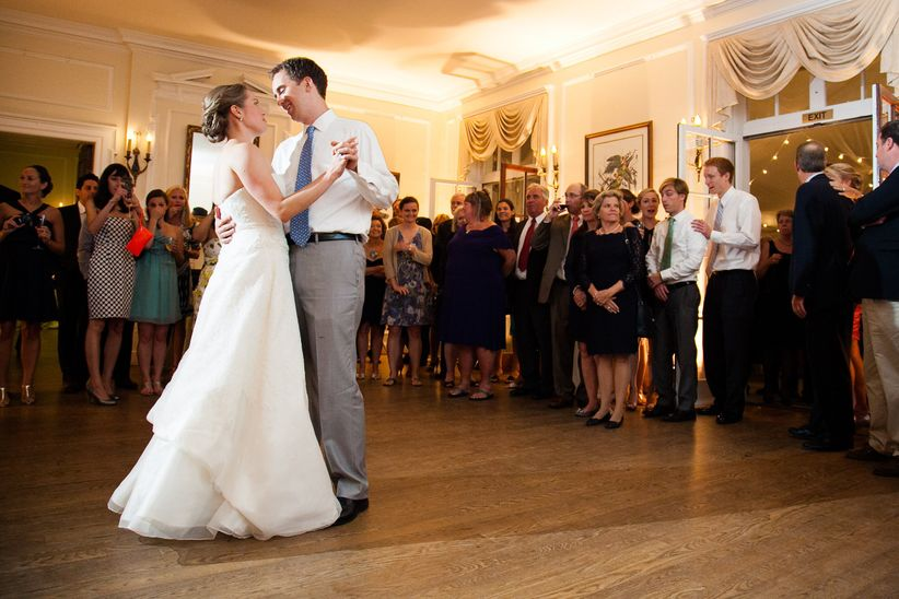 Couple's first dance in reception hall