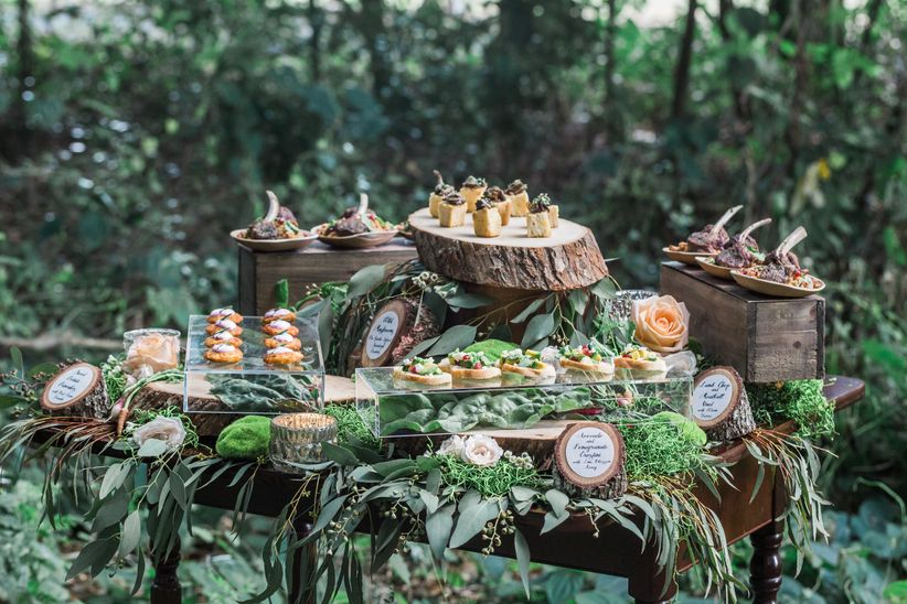 woodland wedding ideas food stations