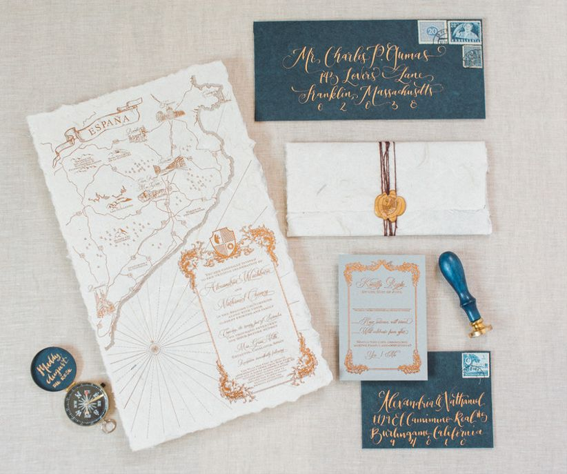 nautical wedding invitations with map and calligraphy