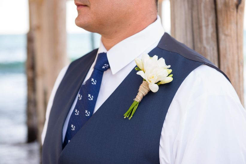 Nautical groom's attire