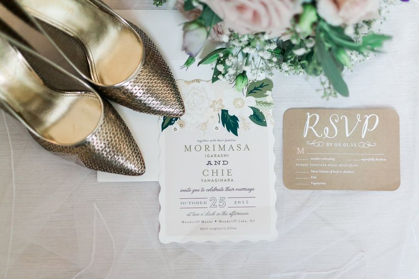 Pretty wedding RSVP cards