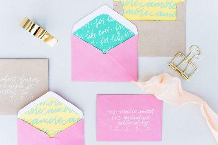 Custom Hand Lettered Envelope Liners