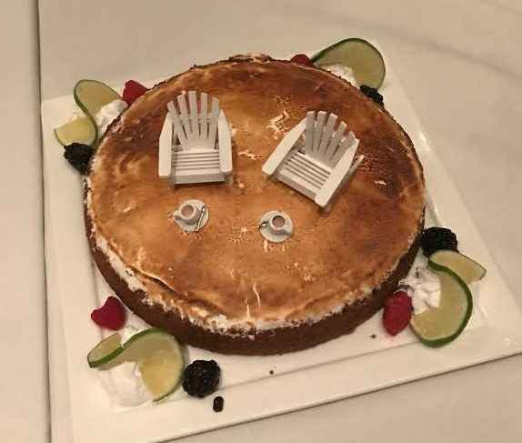 """Not a pro shot, but I think it's the best picture of our """"wedding key lime pie""""."""