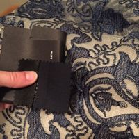 Suit fabric swatch compared to BM dress