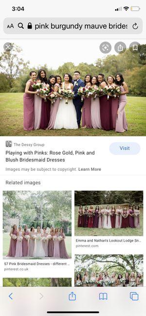 Dusty rose, burgundy & mauve bridesmaids - 2