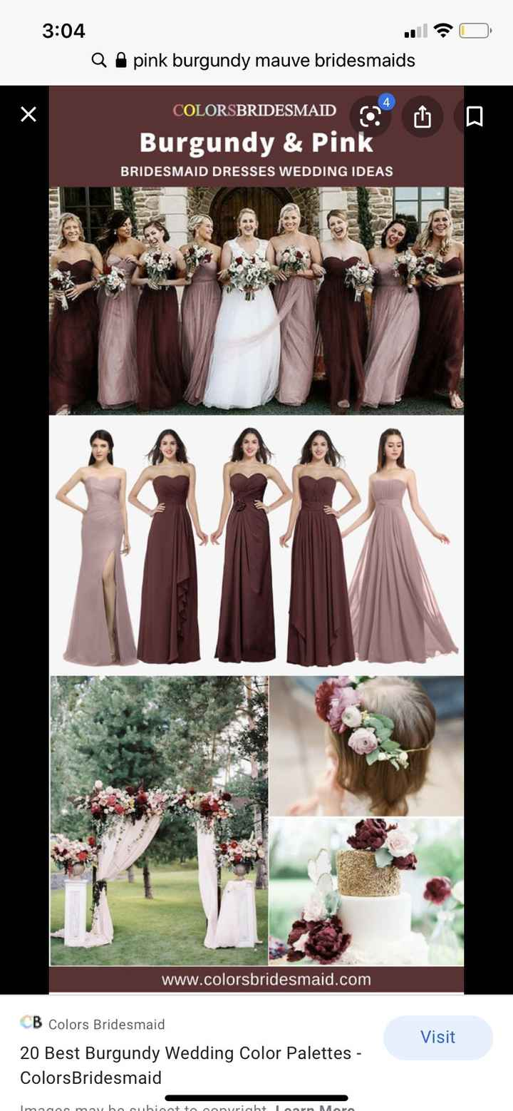 Dusty rose, burgundy & mauve bridesmaids - 1