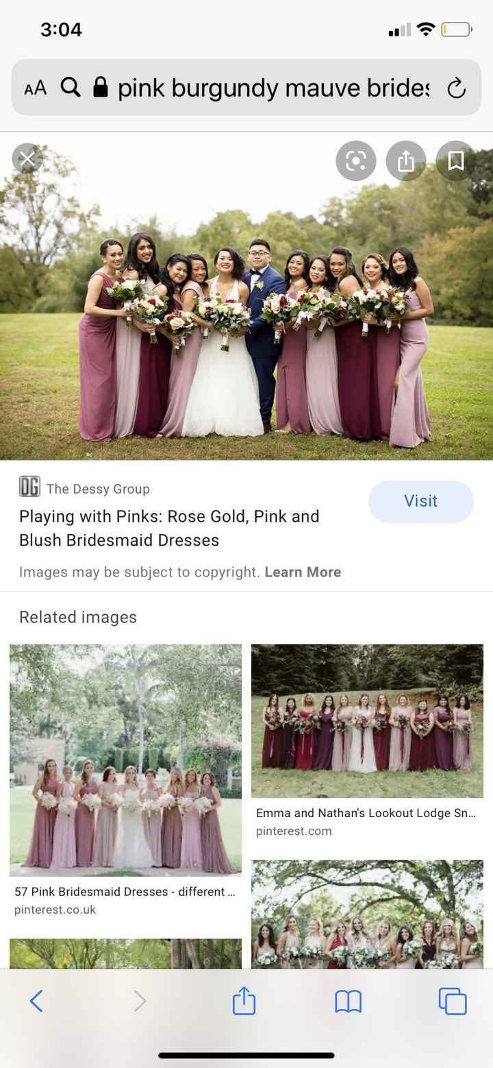 Dusty rose, burgundy & mauve bridesmaids - 2