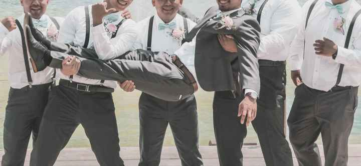 Need help choosing groomsmen suit to coordinate with bridesmaids dresses - 1