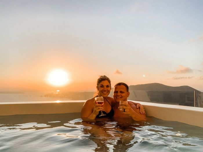 Enjoying sunset from our private balcony hot tub