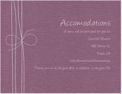 Accommodation Cards Wording Help!