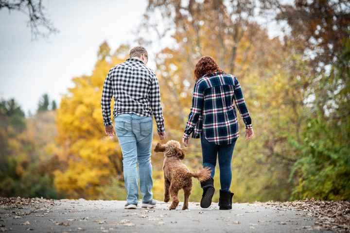 Dogs in engagement photos - 2