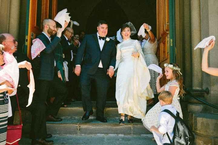 Vintage hankies waved as we exited the church