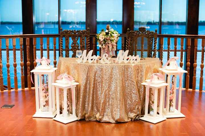 SH table (My mom made those lanterns from scratch, I got the table cloth 2nd hand and resold it for