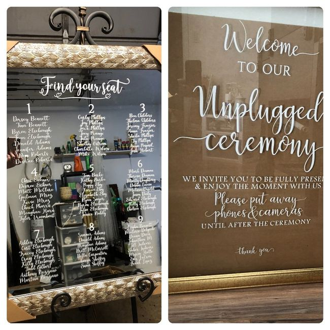 seating chart and unplugged wedding sign