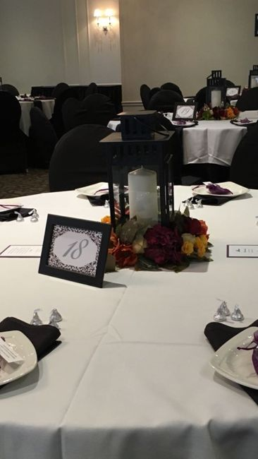 Centerpiece and wedding sign trial run - what do you think?