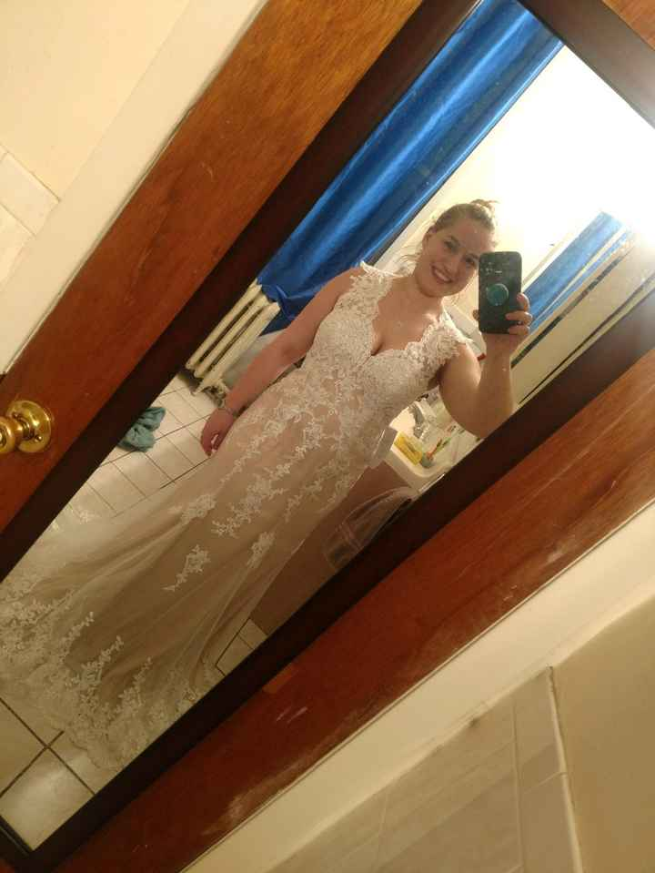 """Sample dress in """"champagne"""", mine will be in white"""