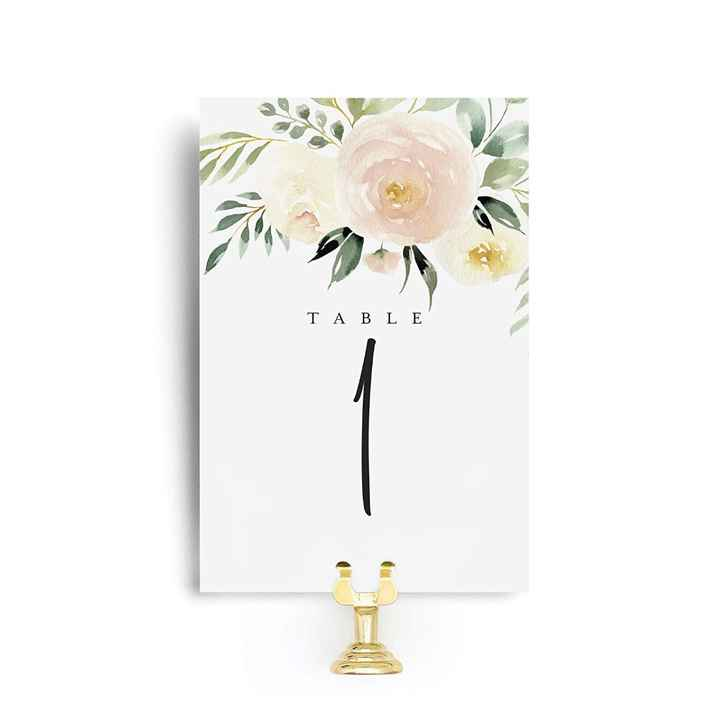 Amazon: Table numbers $16, matching escort cards 150 for $45, little silver clamp holders 24 for 40