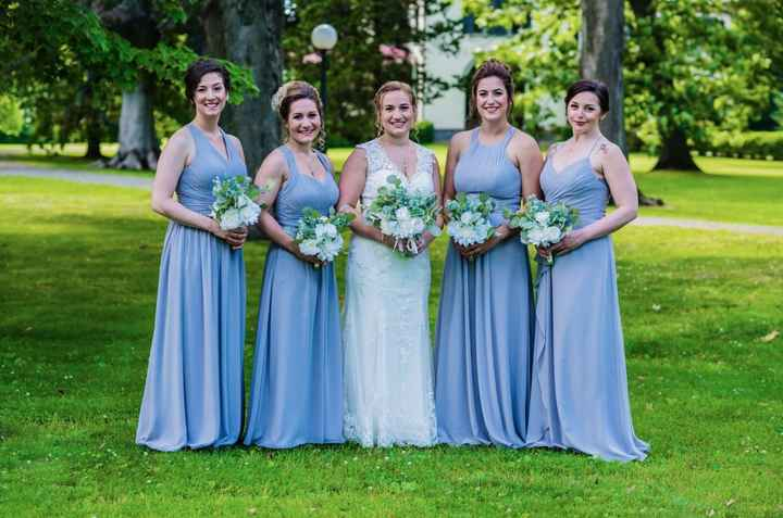 Bridesmaids dresses looked almost bluish in some photos. Maybe it was the filter the photographer us