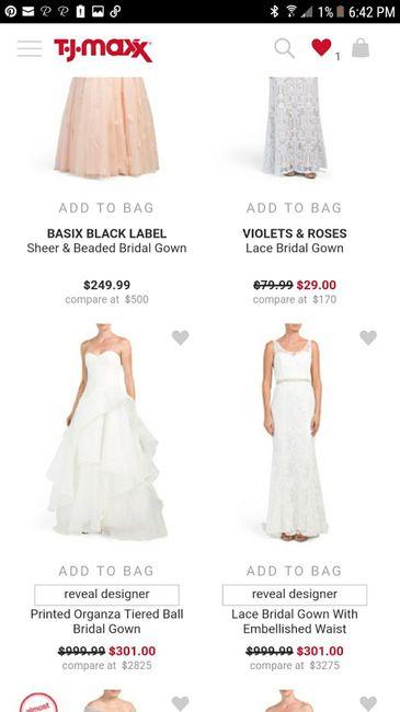 3da5c183b9 I just took this screenshot from tjmaxx. Wedding dress price 1