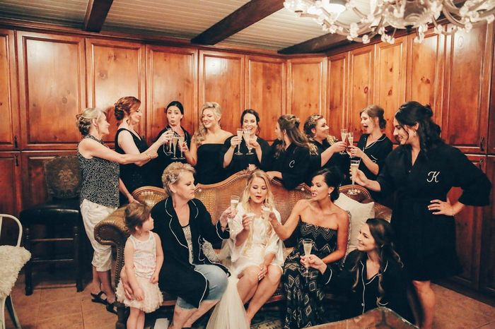 I had 9 bridesmaids and gave them a choice between a cotton waffle print robe, a strapless short rom